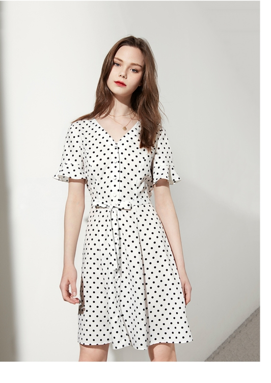 chiffon wave point dress for girl