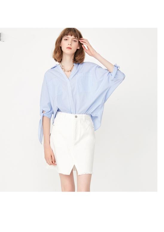 blue shirt and white short dress for girl's