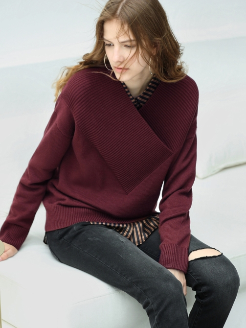 wine red long sleeves sweater for girl