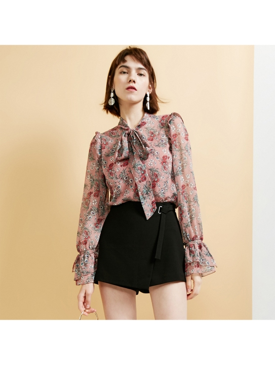 floral chiffon shirt and black dress for girl's