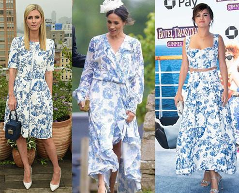 Meghan, Nicky and Selena' Prints Dresses