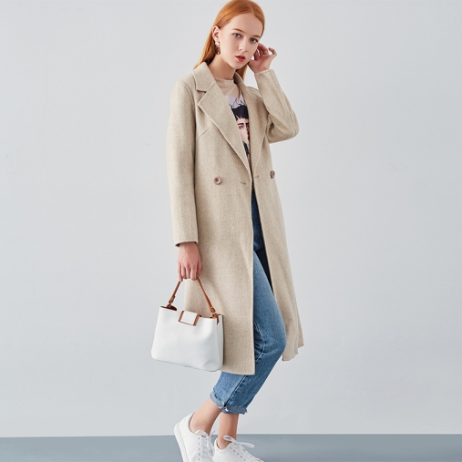 biege long double-faced woolen coat for women