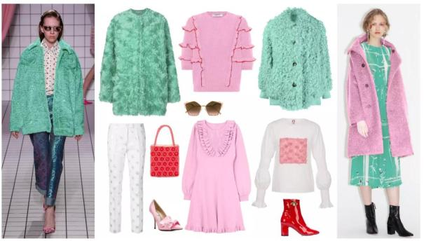 Green and Pink Fur Clothing Collocation