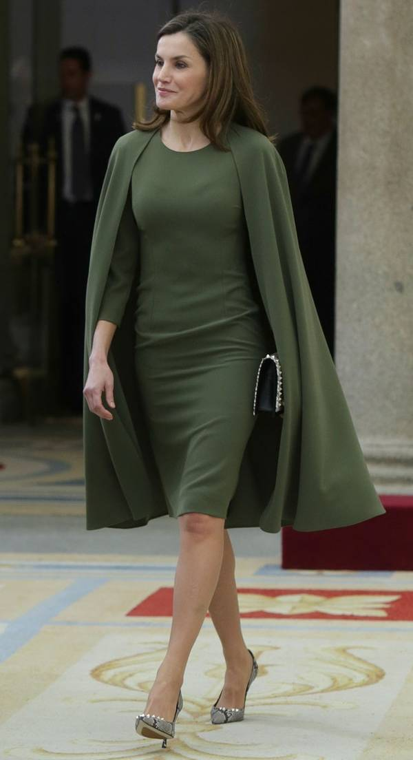 Spain Queen Letizia's green knee length dress
