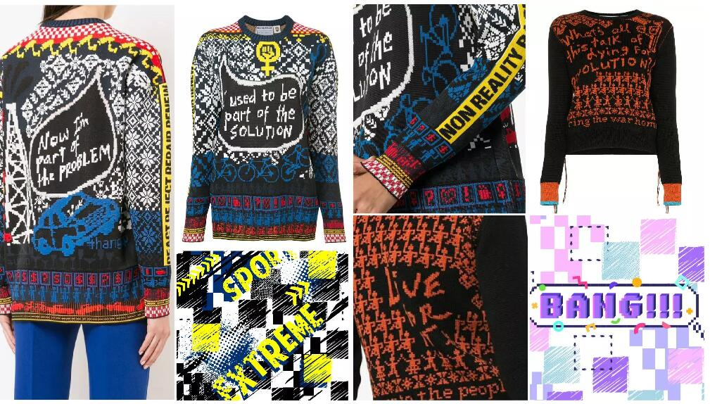 Colorful graphics women's knitwear