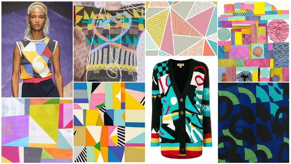 Geometric Collage women's knitwear
