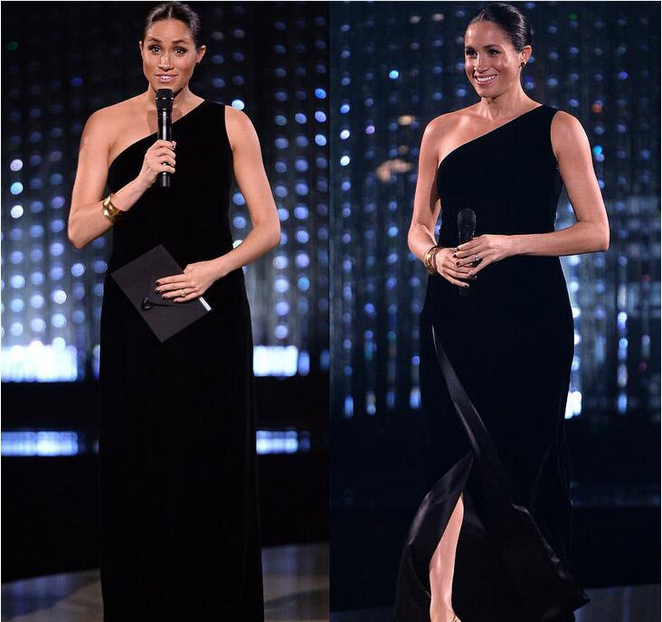 meghan who wear long one shoulder black dress