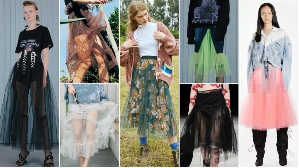 Sheer-Attached Skirt
