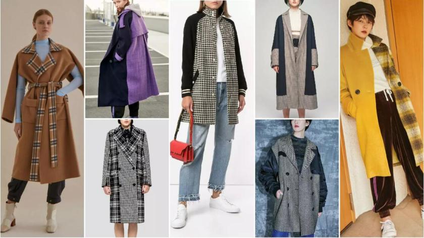 Check Panelling fashion coat