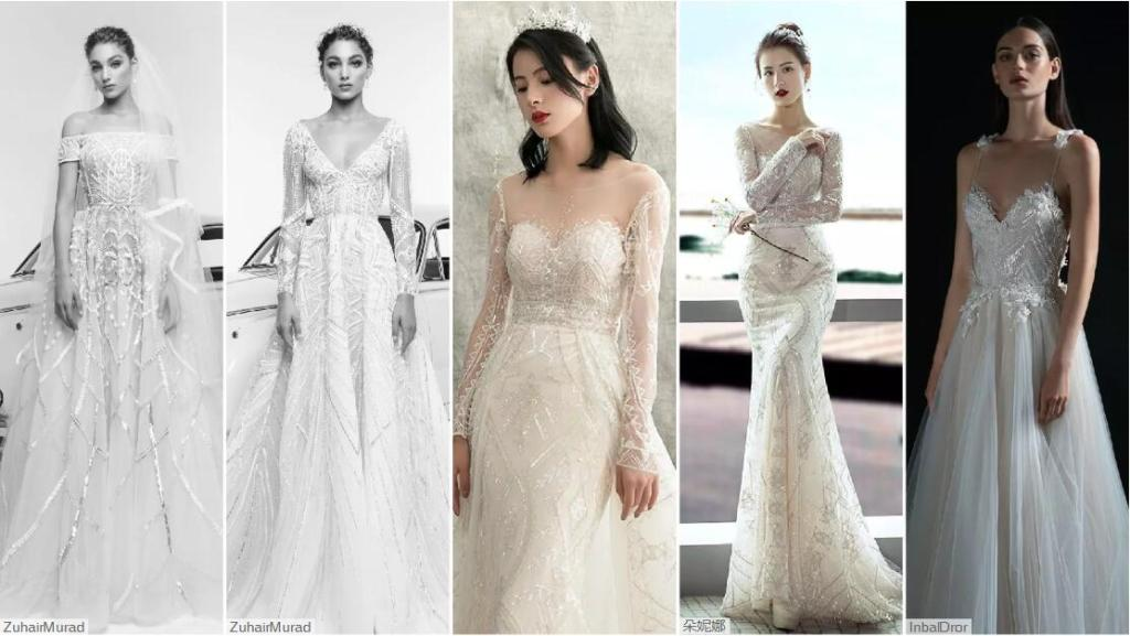 Geometric Effect wedding dresses