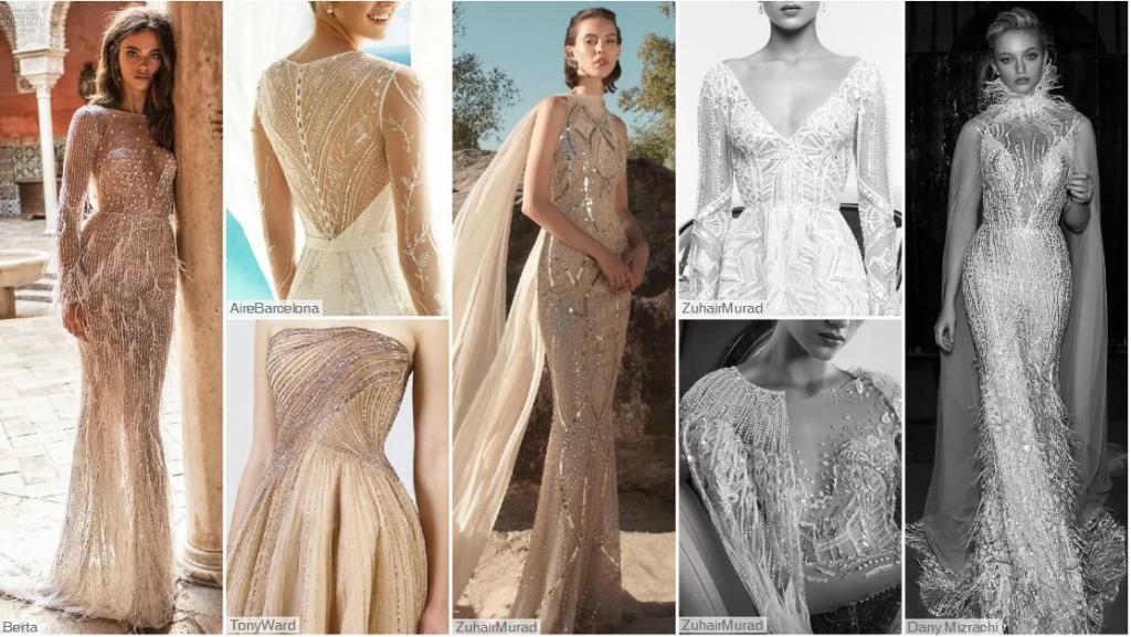 Linear Decoration wedding dresses
