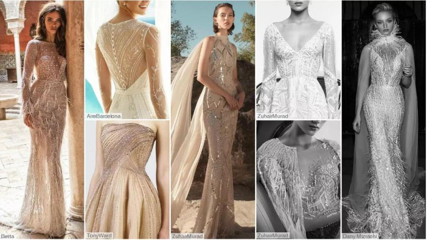 Linear Decoration wedding dresses