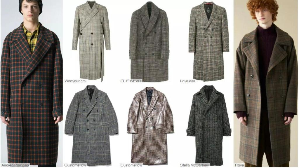 The Double-Breasted Mid-Length Coat -- Checked Materials