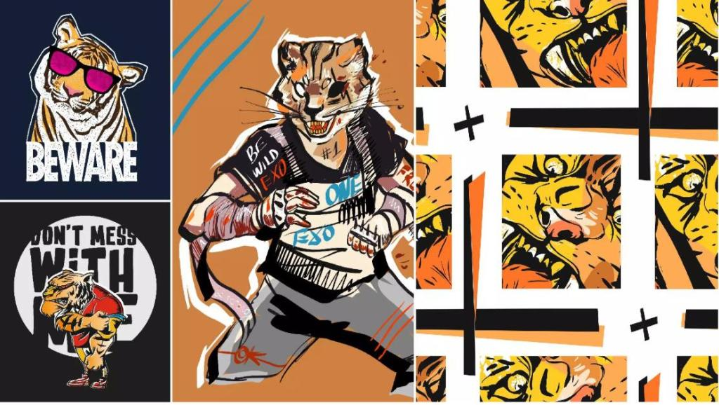 Illustration-style Tiger